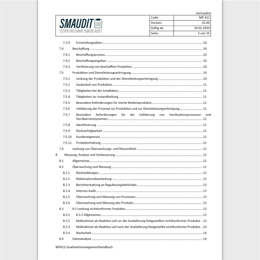 MP.422 - F&T Qualitätsmanagementhandbuch - SMAUDIT - DIN EN ISO 13485