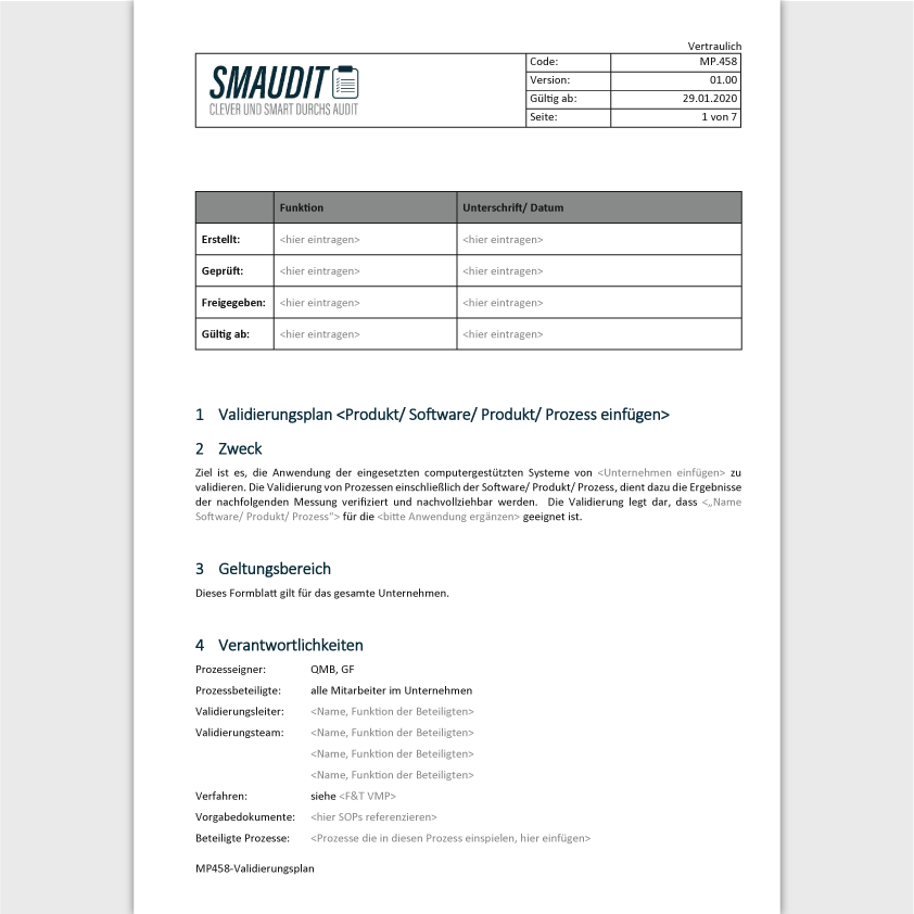 MP.458 - F&T Validierungsplan - SMAUDIT - DIN EN ISO 13485