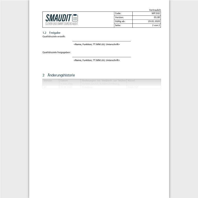 MP.502 - F&T Qualitätsziele - SMAUDIT - DIN EN ISO 13485