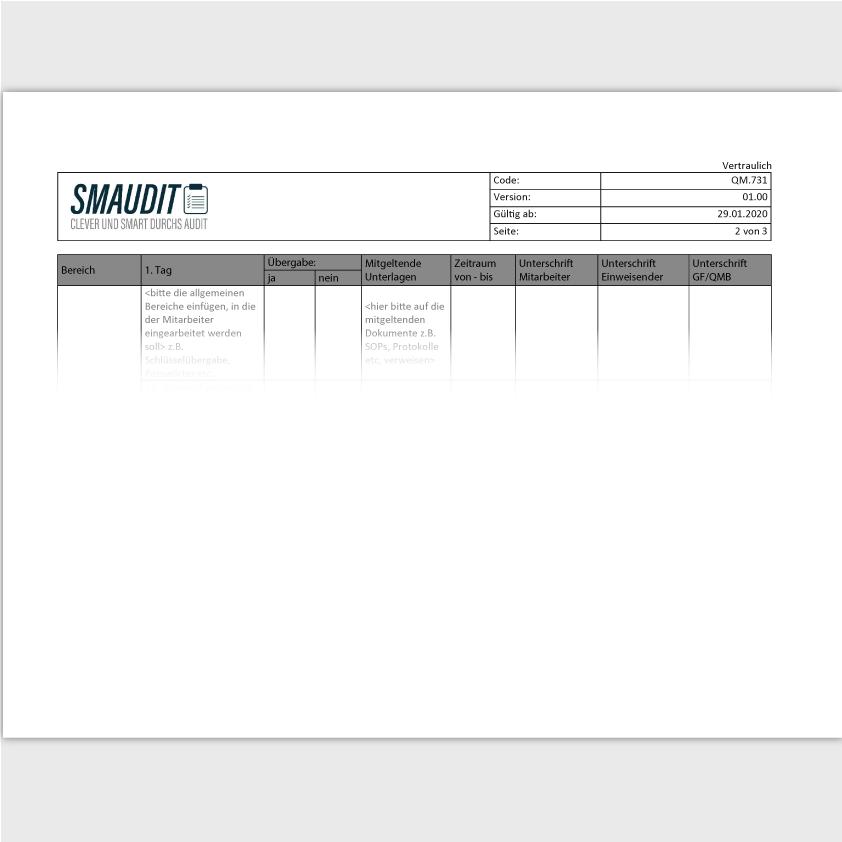 QM.731 - F&T Einarbeitungsplan - SMAUDIT - DIN EN ISO 9001