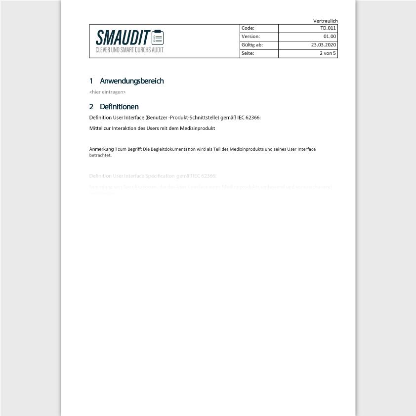 TD.011 - F&T User Interface Specification - SMAUDIT - Technische Dokumentation