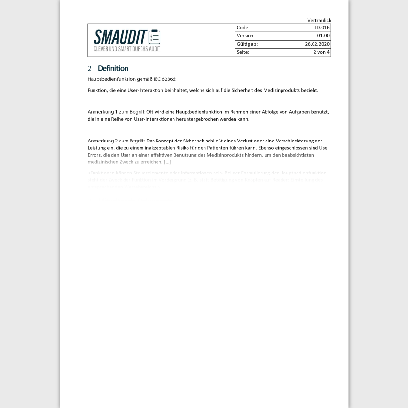 TD.016 - F&T Hauptbedienfunktion - SMAUDIT - Technische Dokumentation