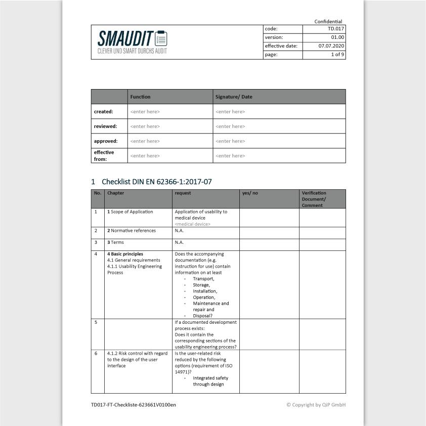 TD.017 - F&T Checkliste 62366-1 Englisch - SMAUDIT - Technische Dokumentation